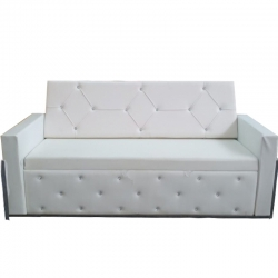 3 Seater Sofa - VIP Sofa - Made Of Steel & Rexin - Steel Body & Wooden - White Color