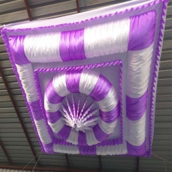 15 FT X 15 FT - Designer Mandap Ceiling - Wedding Top - 26 Gauge Embroidery Brite Lycra - White & Purple Color