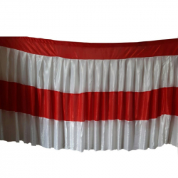 30 FT-Table Cover Frill - Made Of Brite Lycra - 24 Gauge - Red & White Color