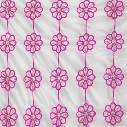 26 Gauge - Designer Bright Lycra - Embroidery Work - 52 Inch Panna - Threadwork & Sequence Work - Super White Color & Pink Flowers