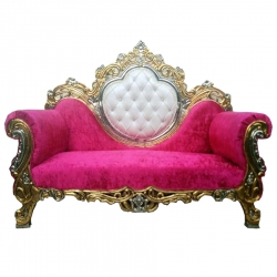 Pink & White Color - Regular - Sofa - Couches - Wedding Sofa - Made of Wooden & Paint Finish