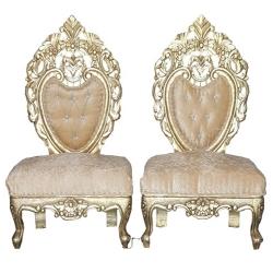 Cream Color - Udaipur - Heavy - Premium - Mandap Chair - Wedding Chair - Varmala Chair Set - Chair Set - Made Of Wooden & Metal - 1 Pair ( 2 Chair )
