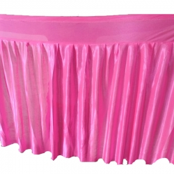 Table Cover Frill - Made of  Brite Lycra - 24 Gauge - Pink Color (Size Available 15 FT X 20 FT X 30 FT )