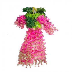 2 FT - Plastic Artificial Flower - Latkan - Flower Decoration - Pink Color (1 Packet - 12 Piece Leaf )