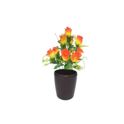 1.2 FT - Artificial Flower Bunches - Fake Flowers Artificial Plant without Pot - Orange Color