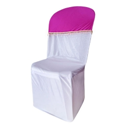 Lycra Cloth Chair Cover with Lycra Cap - Without Handle - For Plastic Chair - Armless - Maharani Pink & White Color