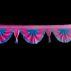 24 FT - Designer Zalar - Scallop Zalar - Kantha - Jhalar - Made Of Lycra -Firozi Blue & Maharani Pink Color