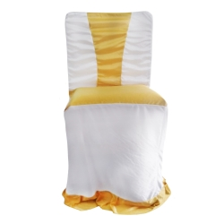 Chandni Cloth Chair Cover - Without Handle - For VIP Chair - Armless - Sona Gold + White - Square back