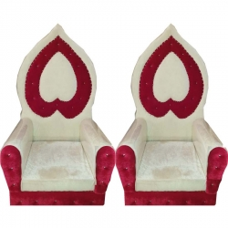 Piech & Red Color - Regular Chair - Couches - Wedding Chair - Made Of Wooden & Paint Finish - 1 Pair ( 2 Chair )