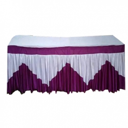 1.5 FT X 6 FT - Rectangular Table Cover - Made Of Premium Quality 26 Gaude Brite Lycra - Maroon & White Color