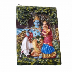 5 FT x 8 FT - Radha Krishna  Fiber  Statue with Multi color.