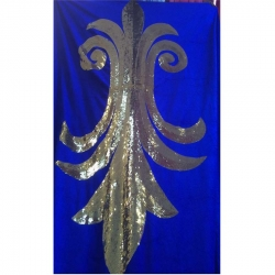 5 FT X 10 FT - Decoration Background Curtain - Entrance Decoration - Stage Decoration Cloth Made Of Velvet Fabric With Designing Of Moti Sitara Work - Blue Color