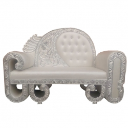 Silver Color - Heavy Premium Metal Jaipur Couches - Sofa - Wedding Sofa - Wedding Couches - Made Of High Quality Metal & Wooden