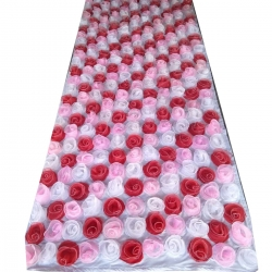 4 FT X 8 FT - Artificial Flower Panel - Back Material Taiwan Cloth - White & Red Color