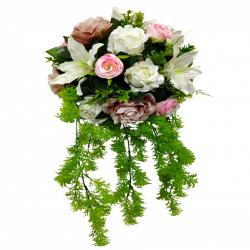 20 Inch - Artificial Flower - Hanging Basket - Flower Decoration - Multi Color