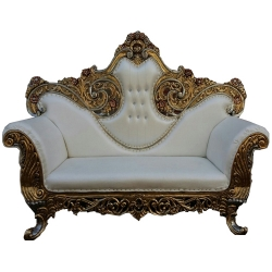 White Color - Udaipur - Rajasthani - Heavy - Couches - Wedding Sofa - Wedding Couches - Made of Wooden & Metal.
