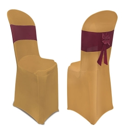 Lycra Cloth Chair Cover Without Handle - For Plastic Chair - Armless - Sona Gold With Maroon Bow Tie
