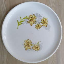 13 Inch - Dinner Plates With Printed Design - Made Of Food Grade Virgin Plastic Unbreakable - White Color