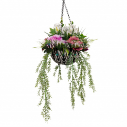 34 Inch X 12 Inch - Artificial Flower Hanging Basket - Flower Decoration - Multi Color