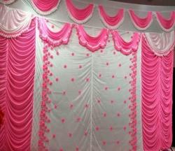 10 FT X 15 FT - Designer Curtain - Parda - Stage Parda - Wedding Curtain - Mandap Parda - Back Ground Curtain - Side Curtain - Brite Lycra - Pink & Peach Color