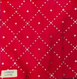 Bandhani  Glitter - 24 Gauge Brite Lycra - 54 Inch Panna - Tikli Work - Red Color