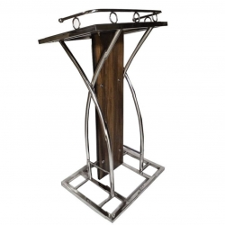 4 FT - Podium - Dias - Lectern Stand - Presentation Dias Made of Stainless Steel - Brown Color.