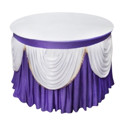4 ft x 4 ft - Round Table Cover - Made of Premium Quality Lycra Cloth - Scallop Border - Purple + White Colour