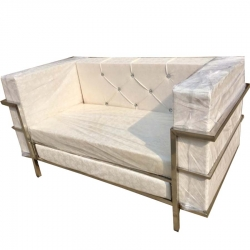 2 Seater Sofa - VIP Sofa - Made Of Steel & Fome - White Color