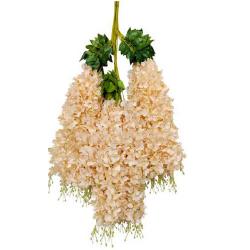 Height - 42 Inch - Hydrengea Wisteriya - Latkan - Flower Decoration - Artificial Latkan - Plastic Latkan - AF - 504 - Peach Color - 1 Packet ( 12 Pieces )