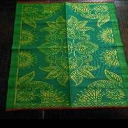 4 FT X 6 FT - Chatai Plastic Floor Mat - Made of PVC Plastic - Green Color