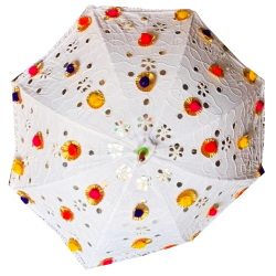24 Inch Height & 27 Inch Diameter- Fabric Embroidery Cotton Umbrella With Gota Pom Pom Work - Hanging Rajasthani Umbrella - White Color