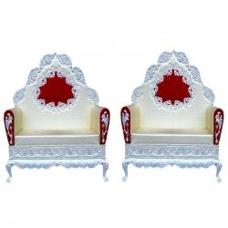 Grey & Red Color - Heavy Metal Premium Jaipuri Varmala Chair - Wedding Chair - Lion Chair Set - Made Of Metal & Wooden - 1 Pair ( 2 Chair )