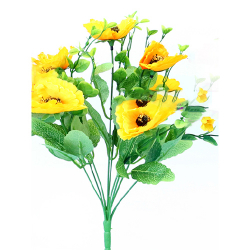 Height 14 Inch - Anemone Bunch X 9 - AF- 268 - Leaf Bunch - Yellow Color