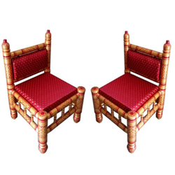 Sankheda Chair - Traditional Wooden Chair - One Pair (2 Chairs)  - Red Color