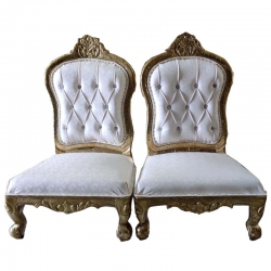 White Color - Udaipur - Heavy - Premium - Mandap Chair - Wedding Chair - Varmala Chari Set - Chair Set - Made of Wooden & Metal - 1 Pair ( 2 Chair )