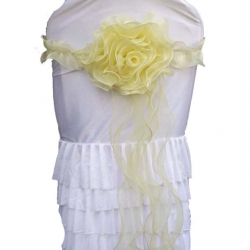 Chair Cover Flower Bow For Wedding Function - Lemon Yellow Color.