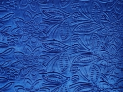 3D Punching Work on Warp Nitting Crush Cloth - 48 Inch Panna - Emboss Work - 5 Meter Quality - Royal Blue Color