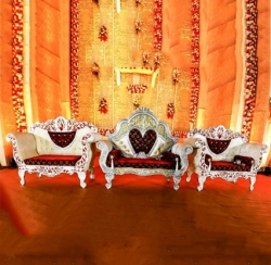 Multi Color - Heavy Premium Jaipur Couches - Sofa - Wedding Sofa - Wedding Couches - Made Of High Quality Metal & Wooden - 1 Sofa & 1 Pair Of Chair ( 2 Chair )
