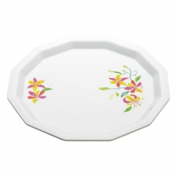 13 Inches Dinner Plates With Printed Design - Made Of Food Grade Virgin Plastic - White Color