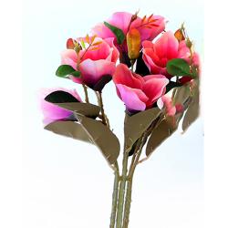 Height  19 Inch - Magnolia Flower Bunch -  AF-254 - Leaf Bunch - Red Color