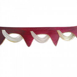 24 FT - Designer Zalar - Scallop Zalar - Kantha - Jhalar - Made Of Lycra With Tipki - Maroon & Off White Colour