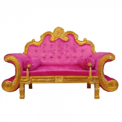 Golden & Pink Color - Heavy Premium Metal Jaipur Couches - Sofa - Wedding Sofa - Wedding Couches - Made Of High Quality Metal & Wooden