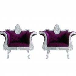 Dark Purple Color - Heavy Premium Metal Jaipur Sofa Chair - Wedding Chair - Chair Set - Made of High Quality Metal & Wooden