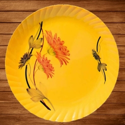 11.50 Inch Second Quality Dinner Plates - Made Of Food-Grade Regular Plastic Material - Leher Round Shape - Printed Plate.