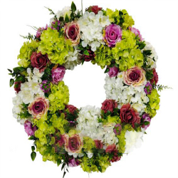 26 Inch  X 26 Inch - Hanging Frame Ring - Artificial Flower With Frame - For Indoor & Out Door Decoration - Multi Color
