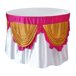 4 FT x 4 FT - Round Table Cover - Made of Premium Quality Lycra Cloth - Scallop Border - White Maharani & Sona Gold Color