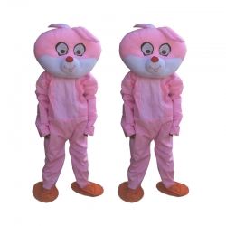 Rabbit Adult Costume - Party Mascot - Made of High Quality Plush Material - Set of 2