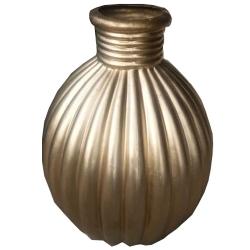 3 FT - Artificial Fancy Fiber Glass Flower Pot - Fiber Kundi - Golden Color