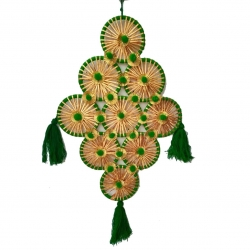 30 INCH - Wall Hanging Jhumar - Door Hanging -  Made of Woolen & Wood - Green & Yellow Color