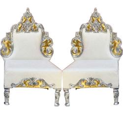 White Color - Udaipur - Heavy - Premium - Mandap Chair - Wedding Chair - Varmala Chari Set - Chair Set - Made Of Wooden & Metal - 1 Pair ( 2 Chair )